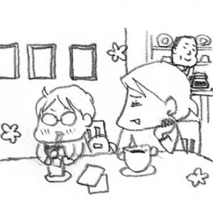 <span>カツヤマケイコの絵日記</span> 石ころ帽子ならぬ目立ち帽子の息子と、西荻へ