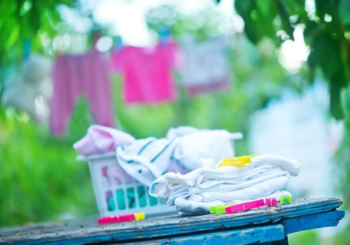 baby clothes, clear baby linnen in garden