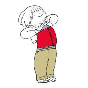 <span>山本祐布子の「子どものいる風景」</span> 縫い目が激しく見えるので、「手術の腹巻き」と名付けられました