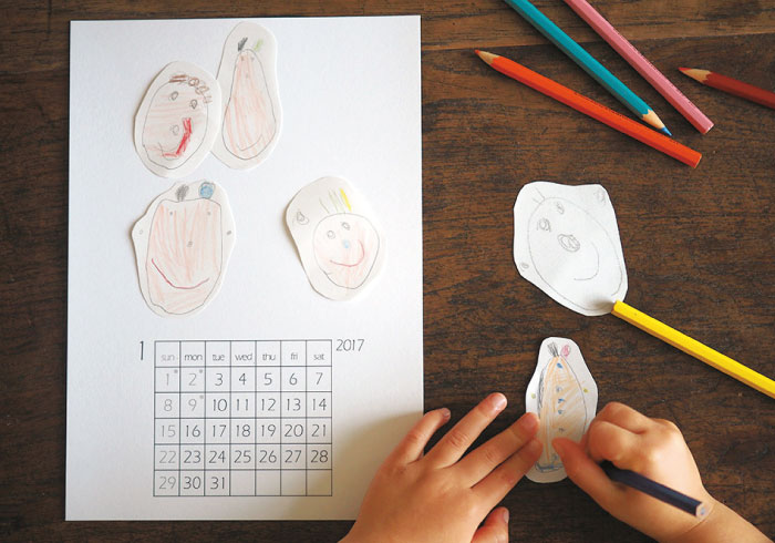 子どもの作品集にもなる。2017年のカレンダー作り