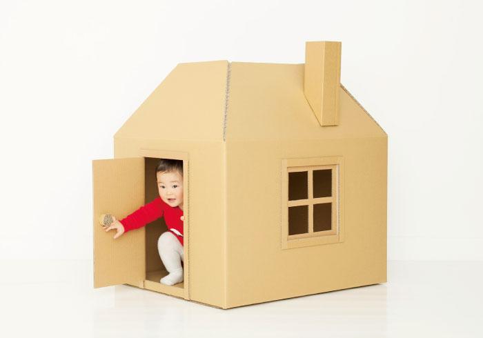 たためるから場所をとらない。親子で作る、簡単かわいい段ボールハウス