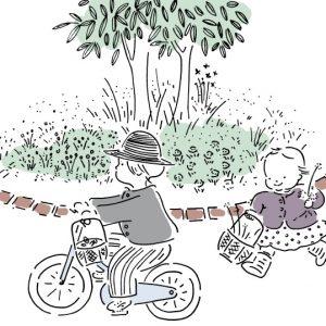 <span>山本祐布子の「子どものいる風景」</span> 大きな大きな庭。新しい生活が始まりました