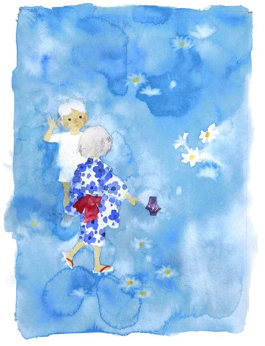 1-6夏の宵の白い花と子ピエゾ)