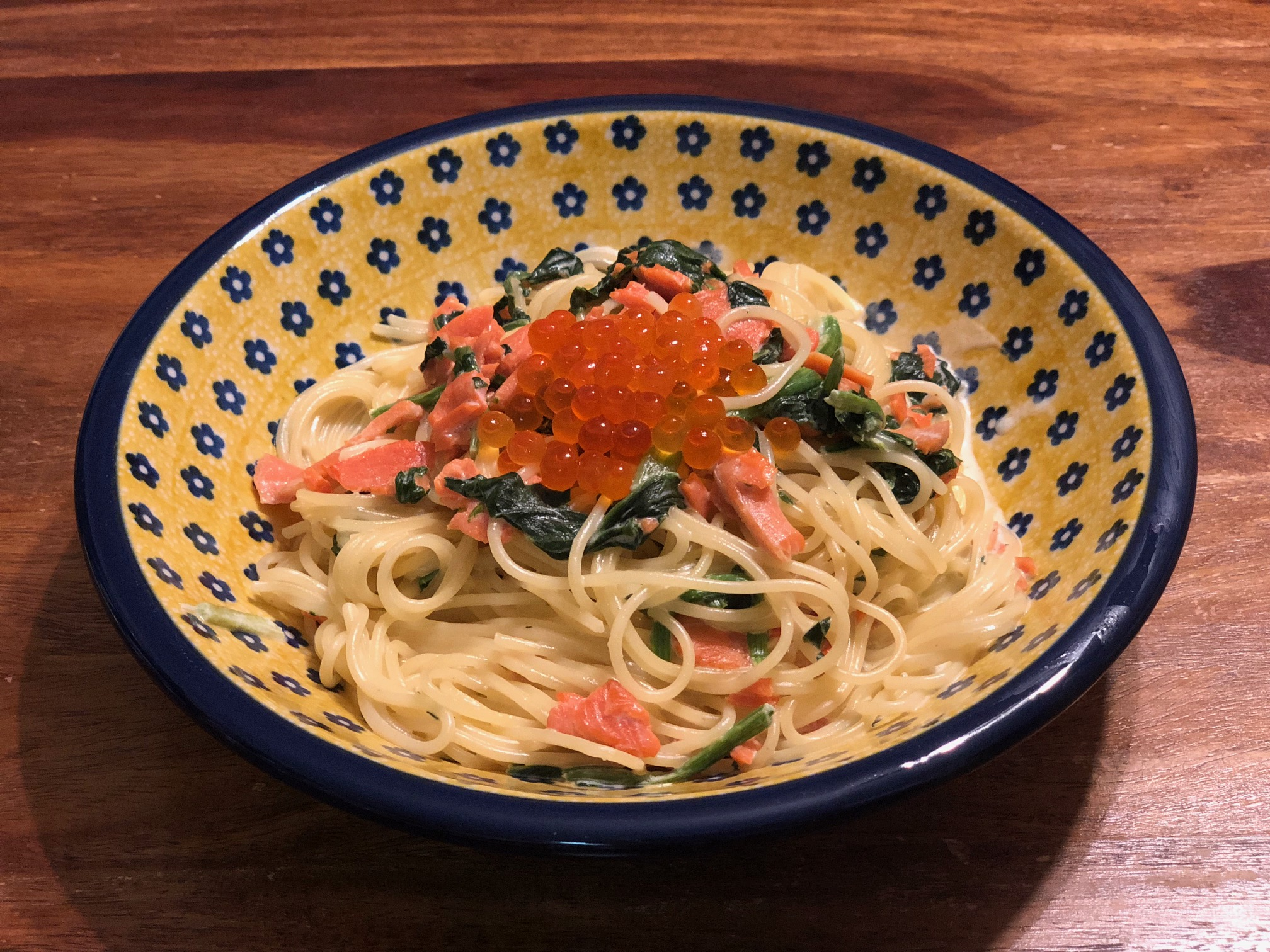 サーモンとイクラのスパゲッティ