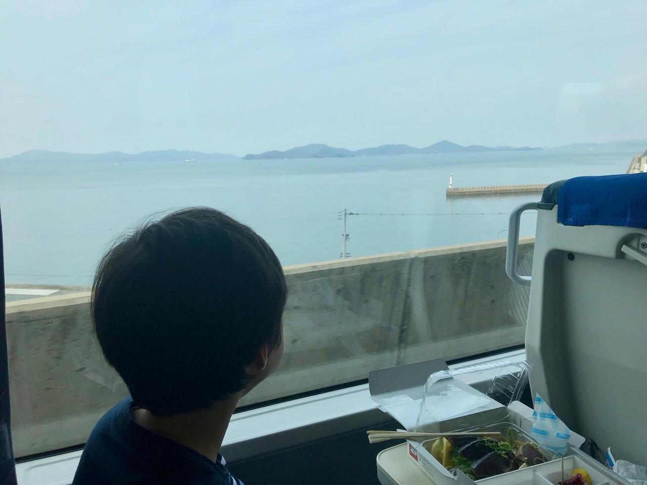 瀬戸大橋からの眺め。カツオのたたき弁当を食べながら。