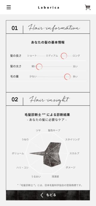 髪診断※マイページ画面(結果)