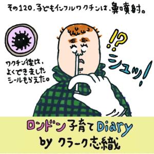 <span>ロンドン子育てDiary</span> 子どもインフルワクチンは鼻噴射。