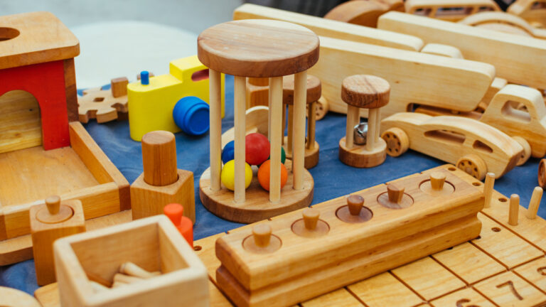 Creative eco wooden toys for baby und kids made of organic wood. Childrens Educational Eco-friendly wooden toys shop, store.