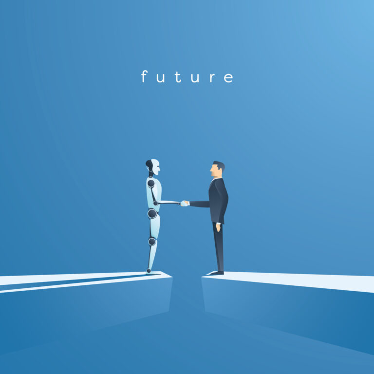 Ai or artificial intelligence vector concept with ai robot handshake with human. Symbol of future cooperation, technology advance, innovation. Eps10 vector illustration.