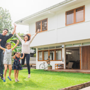 Portrait Asian family front of house, happy family home concept