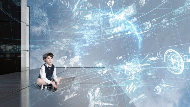 Society 5.0の未来社会を描く子供