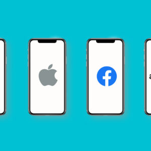 Los Angeles, California, USA - 15 April 2021 GAFA icons on smartphone screens with blue background banner - Google, Apple, Facebook, Amazon